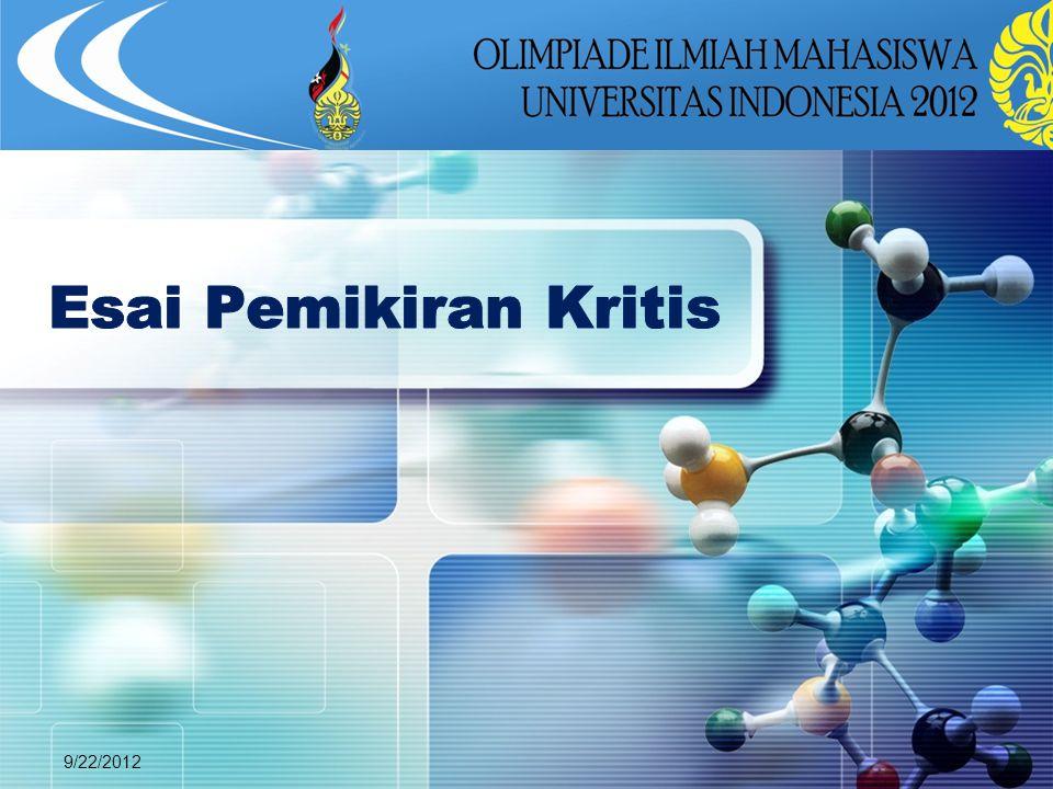 Esai Pemikiran Kritis 9/22/2012