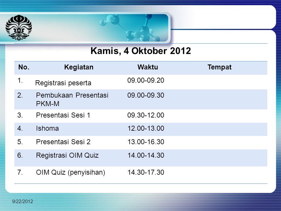 Kamis, 4 Oktober 2012 No. Kegiatan Waktu Tempat 1. Registrasi peserta