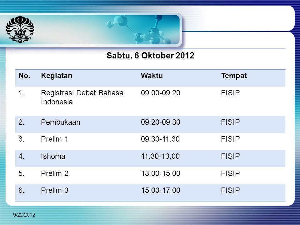 Sabtu, 6 Oktober 2012 No. Kegiatan Waktu Tempat 1.