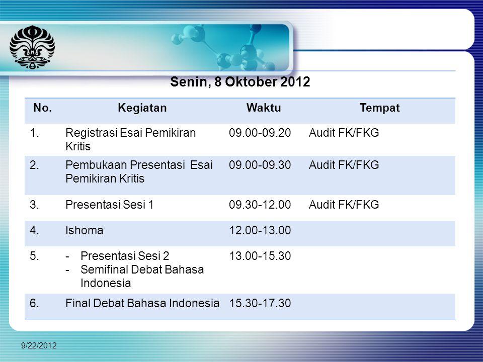 Senin, 8 Oktober 2012 No. Kegiatan Waktu Tempat 1.