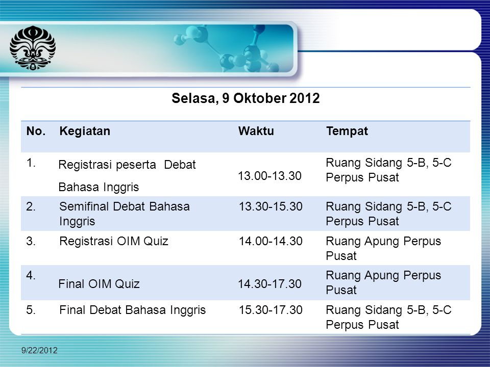 Selasa, 9 Oktober 2012 No. Kegiatan Waktu Tempat 1.