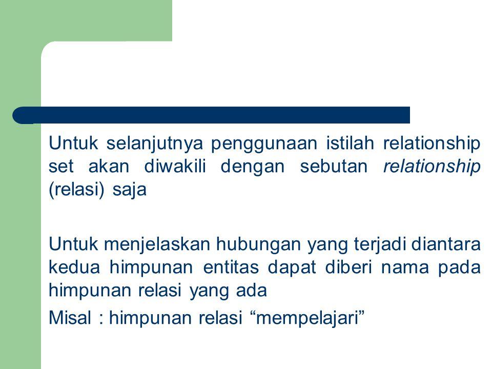 Untuk selanjutnya penggunaan istilah relationship set akan diwakili dengan sebutan relationship (relasi) saja