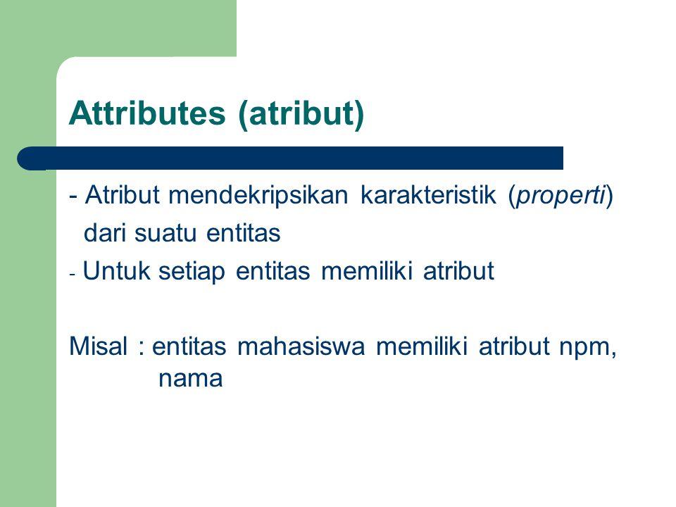 Attributes (atribut) - Atribut mendekripsikan karakteristik (properti)