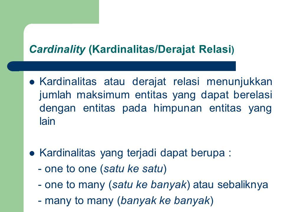 Cardinality (Kardinalitas/Derajat Relasi)