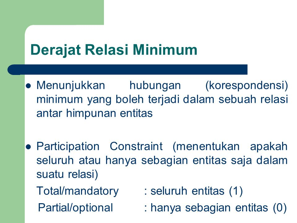 Derajat Relasi Minimum