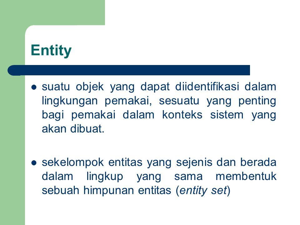 Entity suatu objek yang dapat diidentifikasi dalam lingkungan pemakai, sesuatu yang penting bagi pemakai dalam konteks sistem yang akan dibuat.