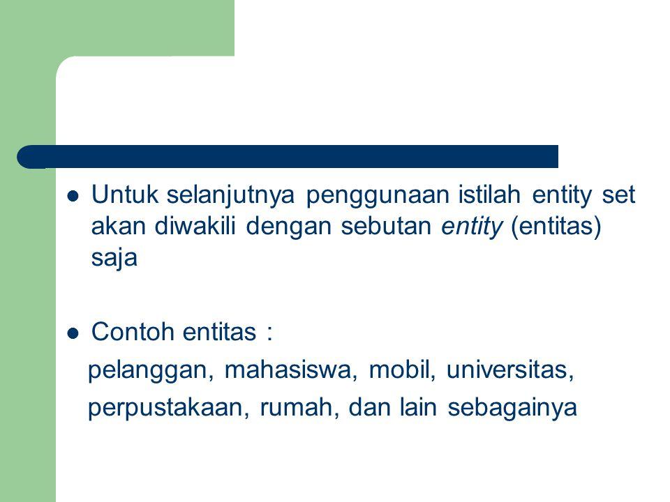 Untuk selanjutnya penggunaan istilah entity set akan diwakili dengan sebutan entity (entitas) saja