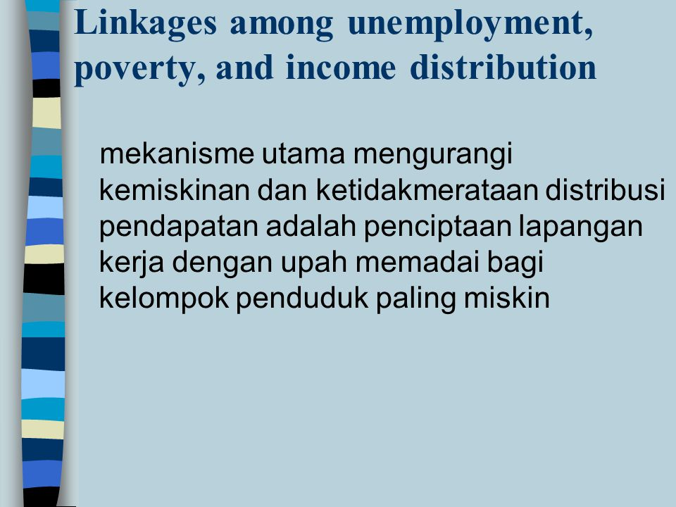 Linkages among unemployment, poverty, and income distribution