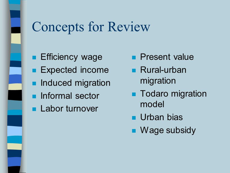 Concepts for Review Efficiency wage Expected income Induced migration