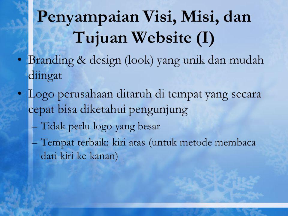 Penyampaian Visi, Misi, dan Tujuan Website (I)