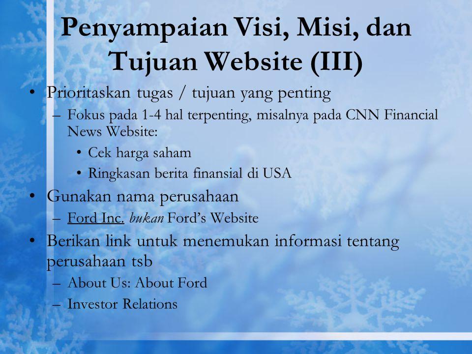 Penyampaian Visi, Misi, dan Tujuan Website (III)