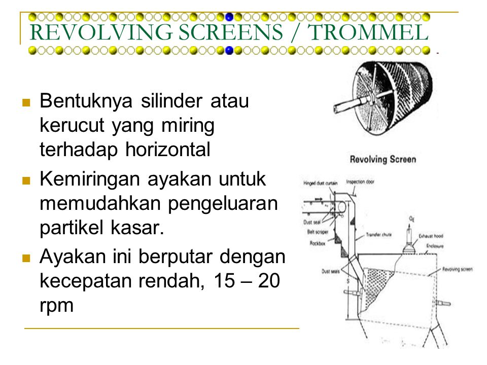 REVOLVING SCREENS / TROMMEL
