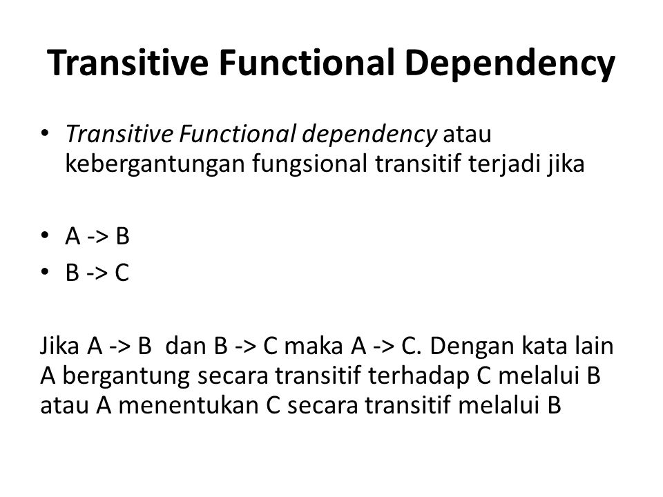 Transitive Functional Dependency