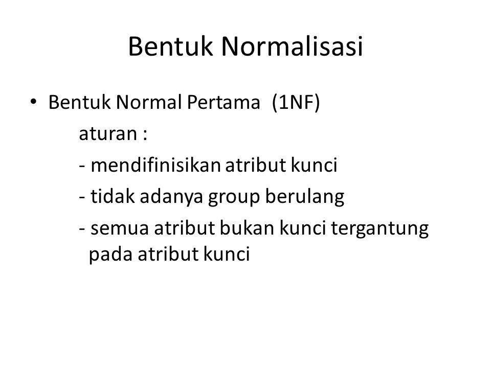 Bentuk Normalisasi Bentuk Normal Pertama (1NF) aturan :