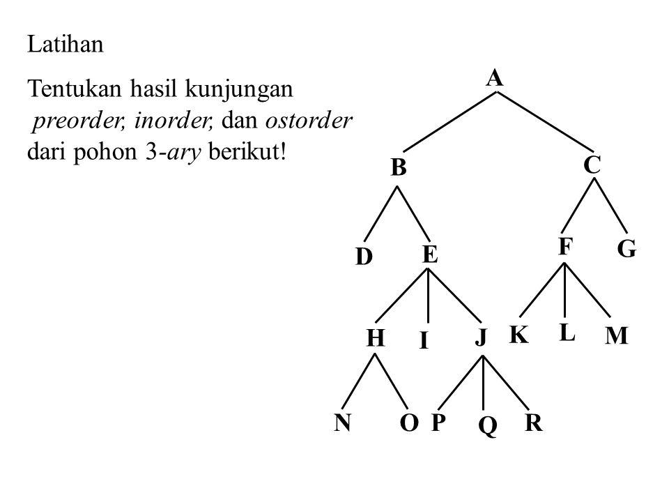 Latihan Tentukan hasil kunjungan. preorder, inorder, dan ostorder dari pohon 3-ary berikut! E. H.
