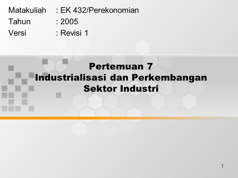 Pertemuan 7 Industrialisasi dan Perkembangan Sektor Industri