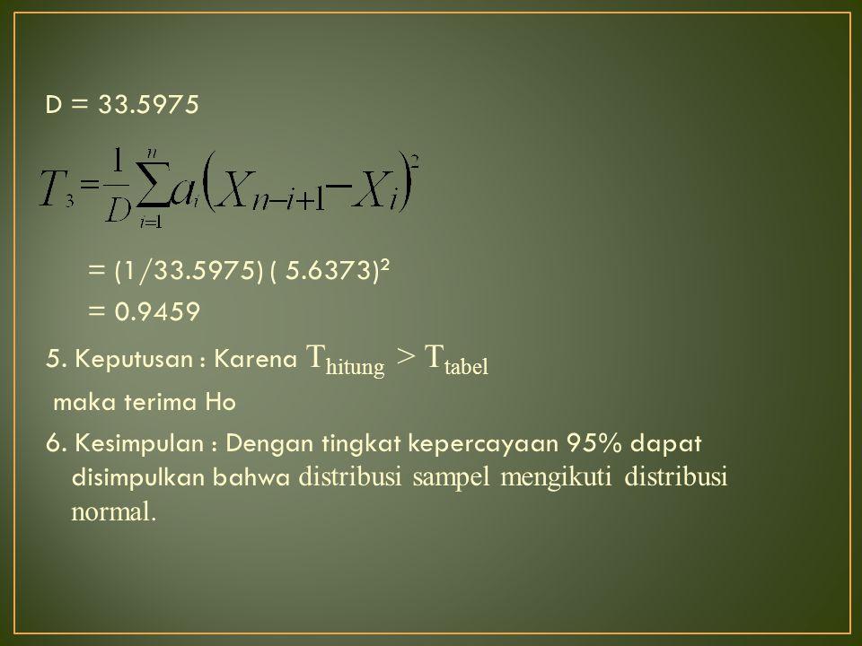 D = 33.5975 = (1/33.5975) ( 5.6373)2 = 0.9459 5.