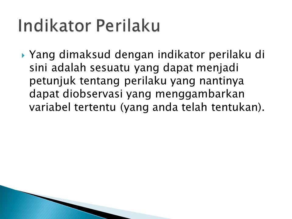 Indikator Perilaku