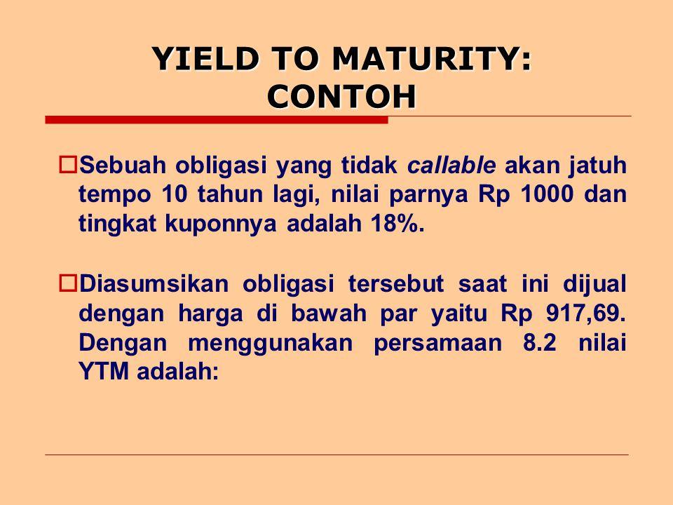 YIELD TO MATURITY: CONTOH