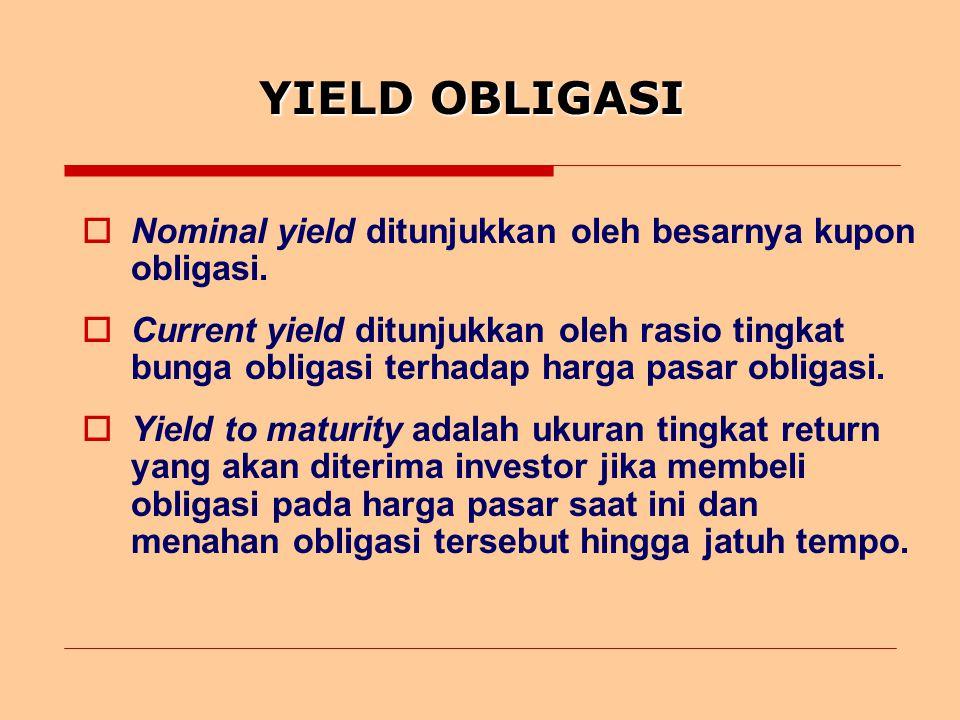YIELD OBLIGASI Nominal yield ditunjukkan oleh besarnya kupon obligasi.