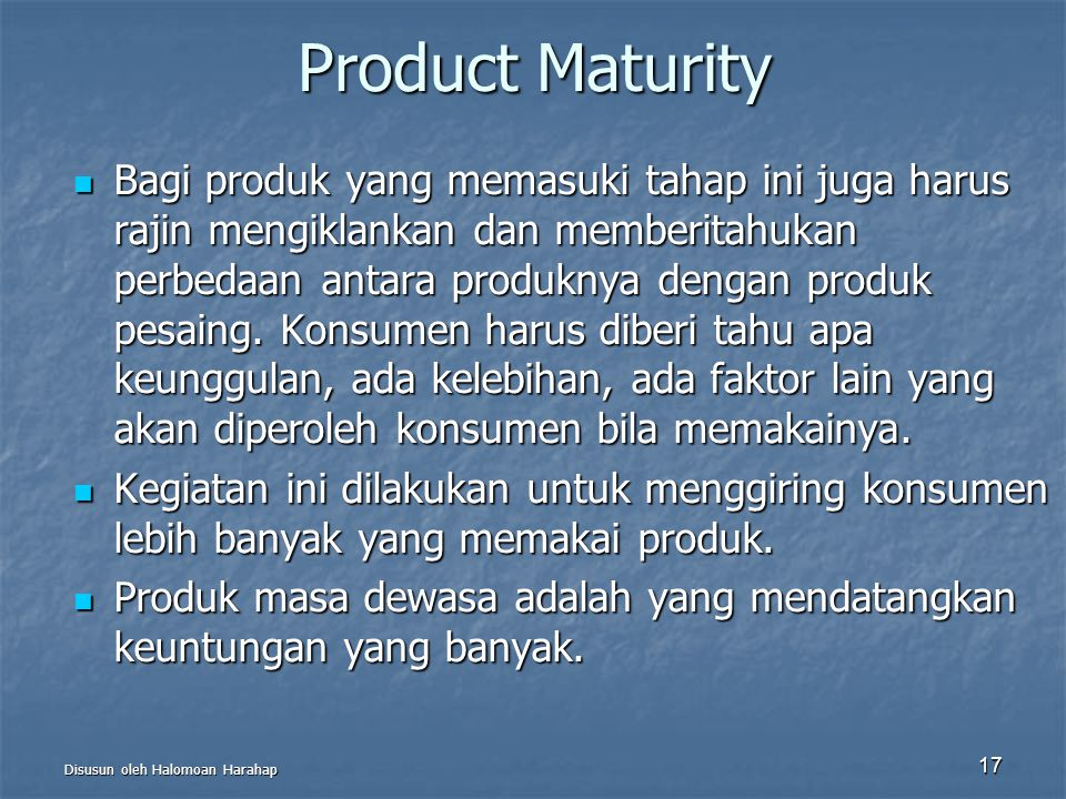 Product Maturity