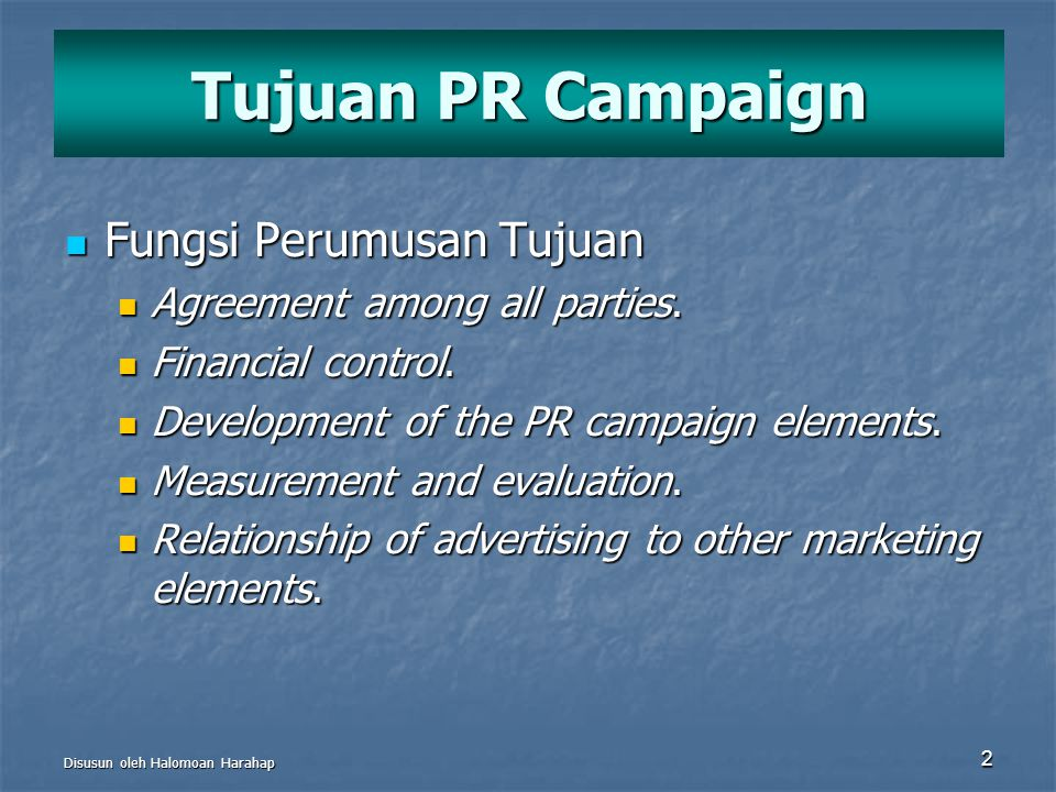 Tujuan PR Campaign Fungsi Perumusan Tujuan