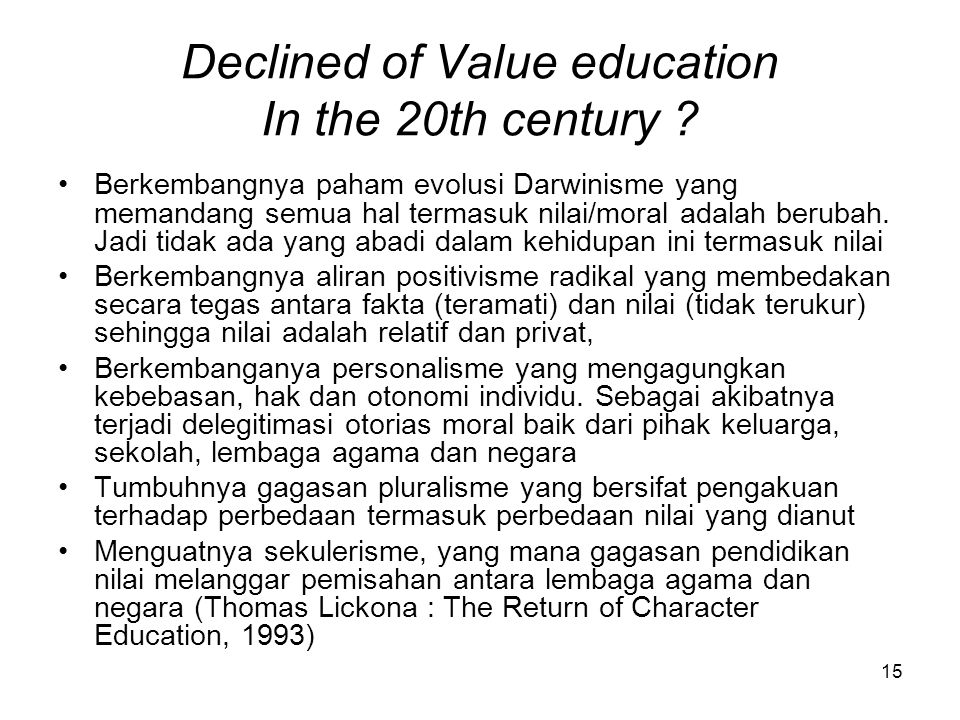 Declined of Value education In the 20th century