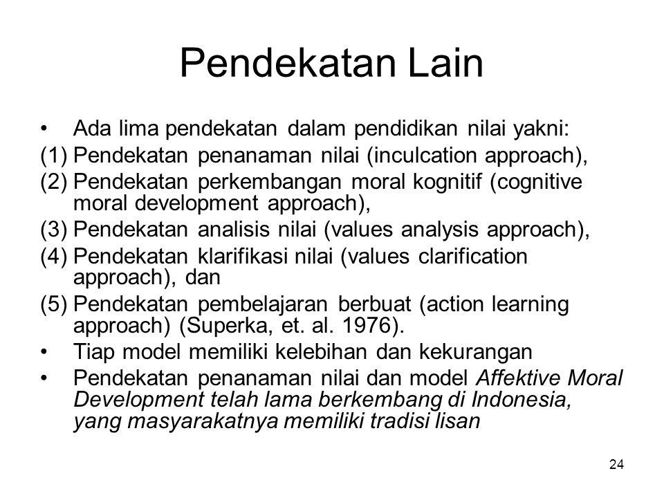 Pendekatan Lain Ada lima pendekatan dalam pendidikan nilai yakni: