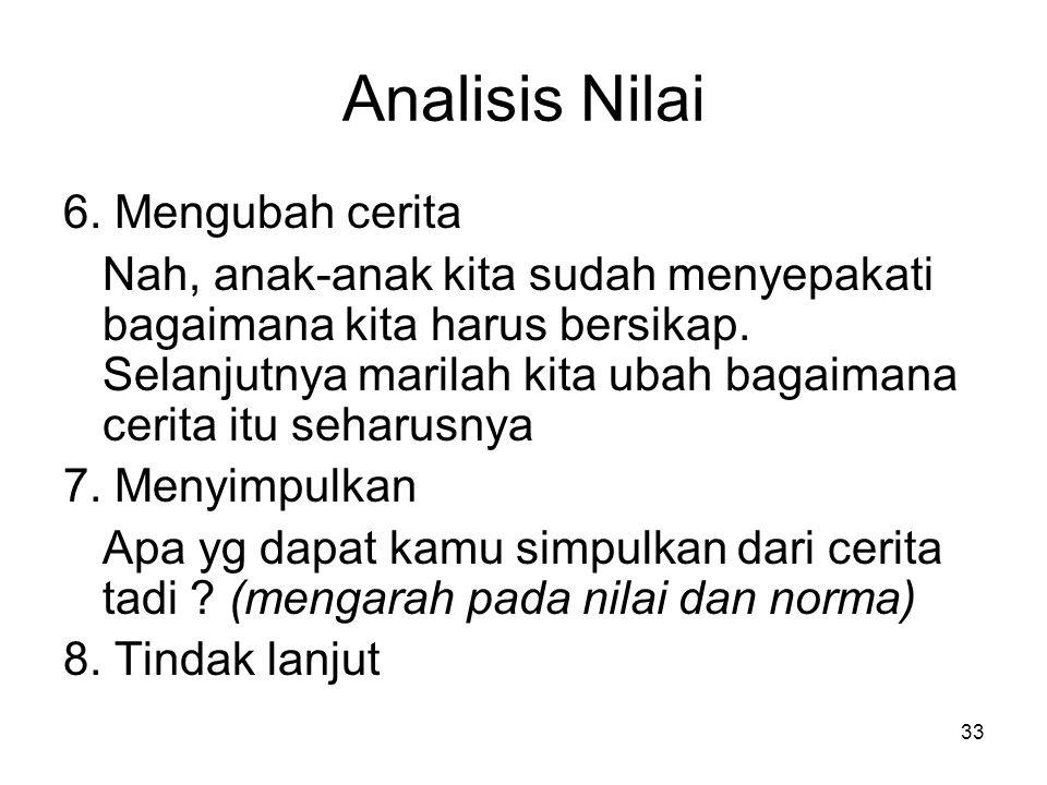 Analisis Nilai 6. Mengubah cerita
