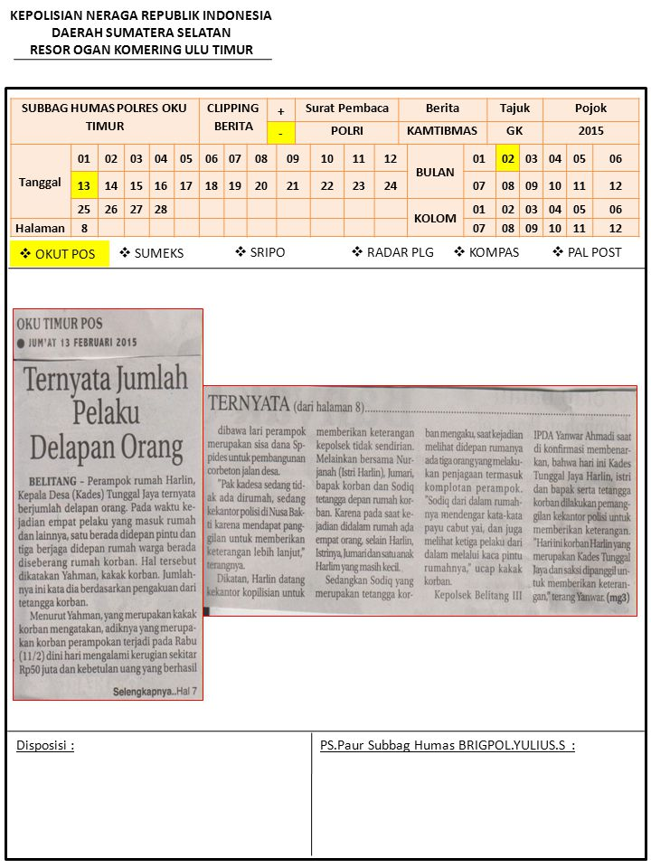 KEPOLISIAN NERAGA REPUBLIK INDONESIA DAERAH SUMATERA SELATAN