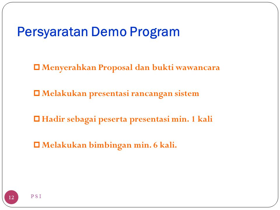Persyaratan Demo Program