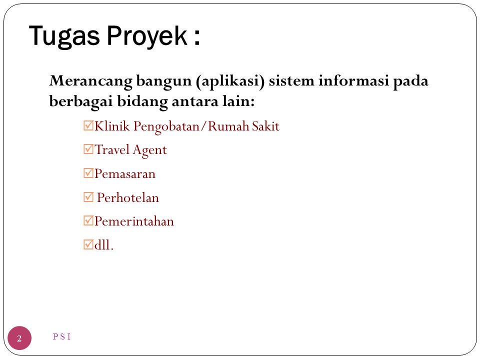 Tugas Proyek : Merancang bangun (aplikasi) sistem informasi pada berbagai bidang antara lain: Klinik Pengobatan/Rumah Sakit.