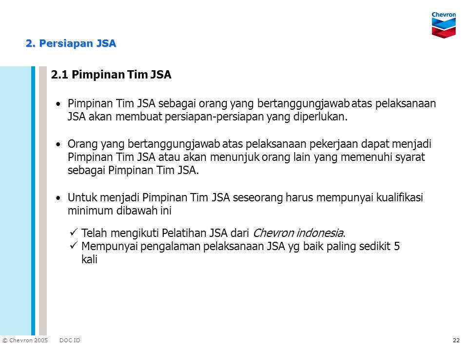 Telah mengikuti Pelatihan JSA dari Chevron indonesia.