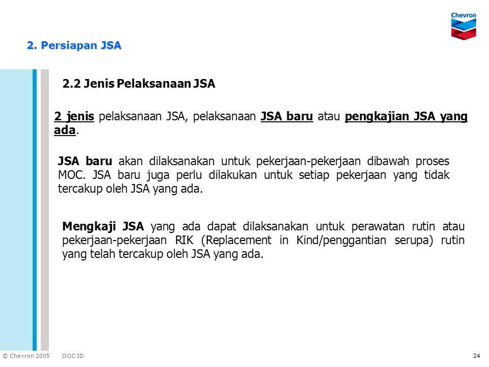 2. Persiapan JSA 2.2 Jenis Pelaksanaan JSA. 2 jenis pelaksanaan JSA, pelaksanaan JSA baru atau pengkajian JSA yang ada.