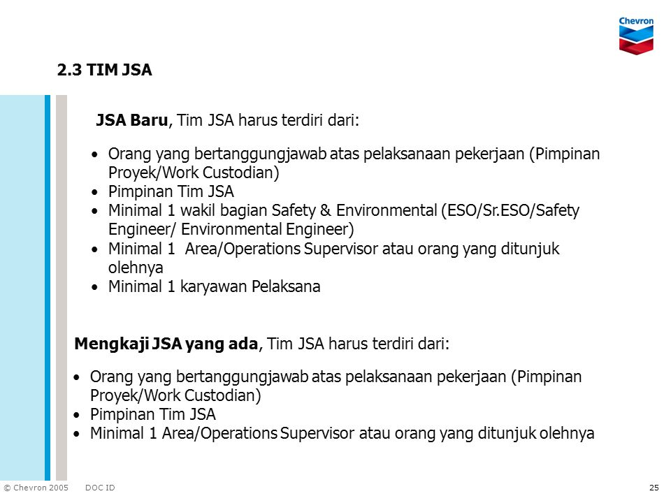 2.3 TIM JSA JSA Baru, Tim JSA harus terdiri dari: Orang yang bertanggungjawab atas pelaksanaan pekerjaan (Pimpinan Proyek/Work Custodian)