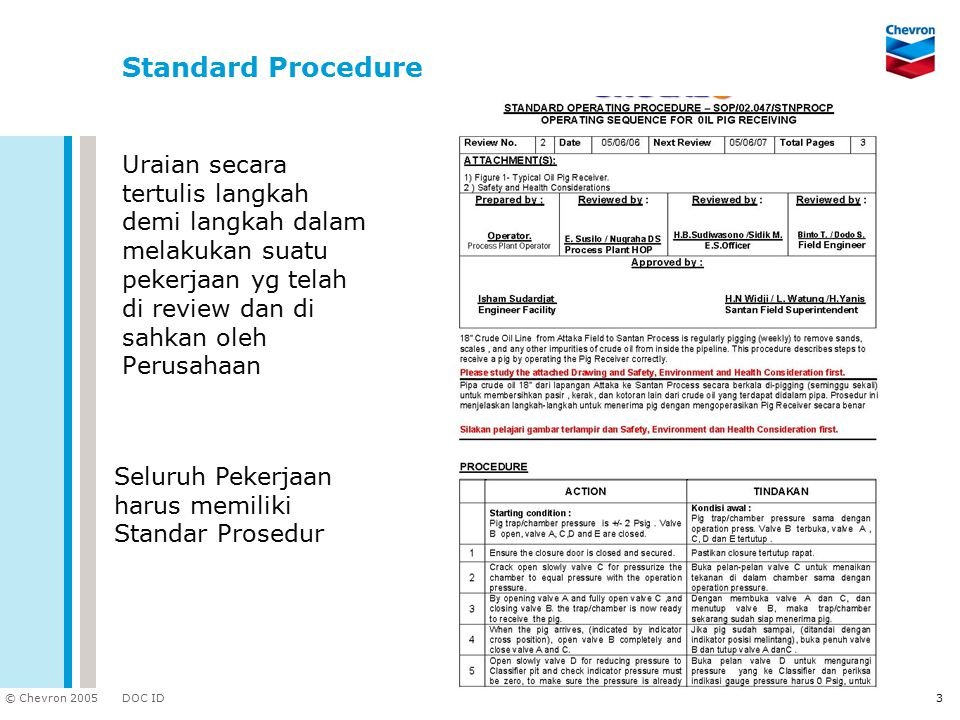 Standard Procedure Uraian secara tertulis langkah demi langkah dalam melakukan suatu pekerjaan yg telah di review dan di sahkan oleh Perusahaan.