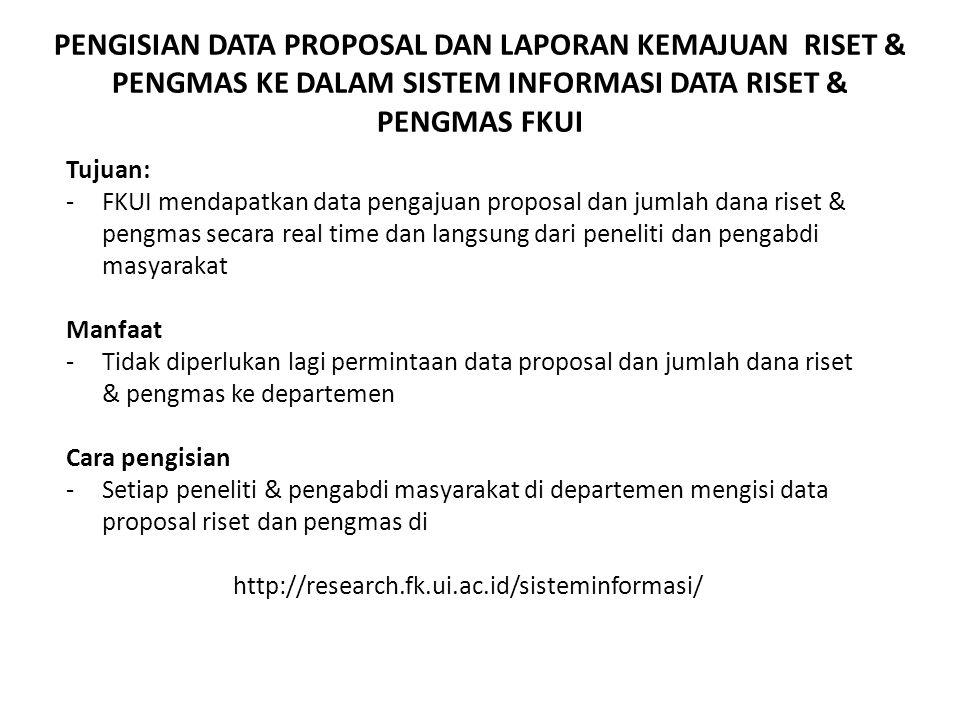PENGISIAN DATA PROPOSAL DAN LAPORAN KEMAJUAN RISET & PENGMAS KE DALAM SISTEM INFORMASI DATA RISET & PENGMAS FKUI