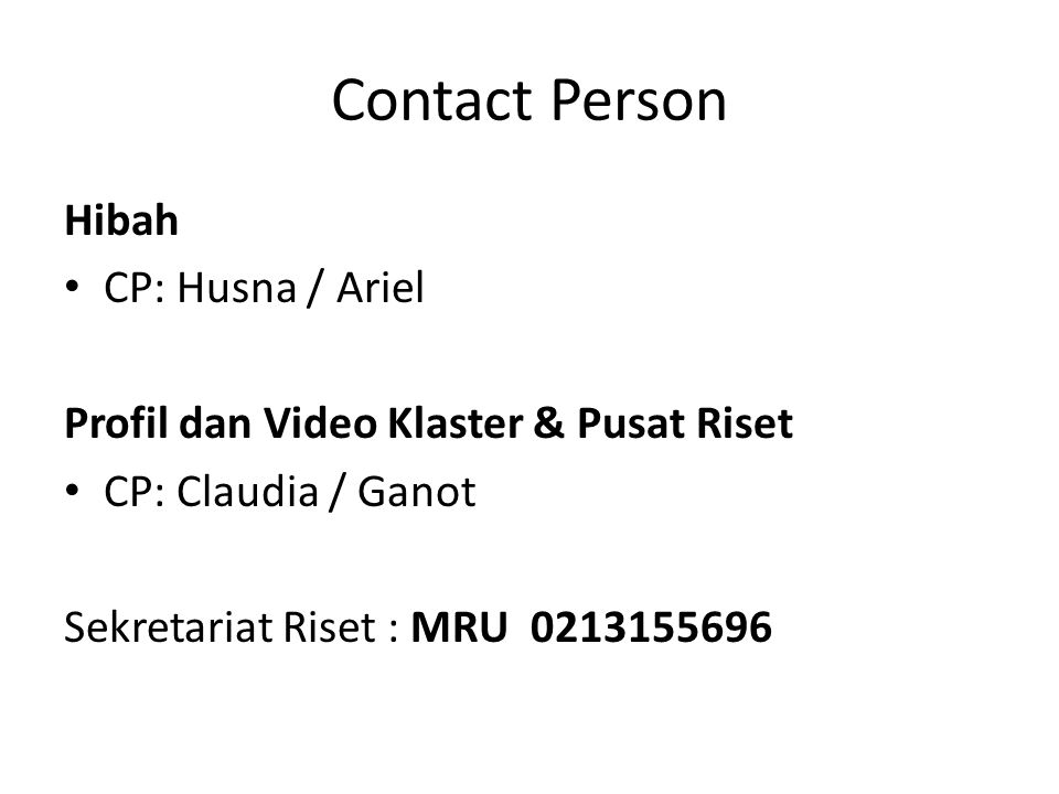 Contact Person Hibah CP: Husna / Ariel