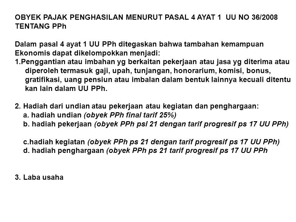 OBYEK PAJAK PENGHASILAN MENURUT PASAL 4 AYAT 1 UU NO 36/2008