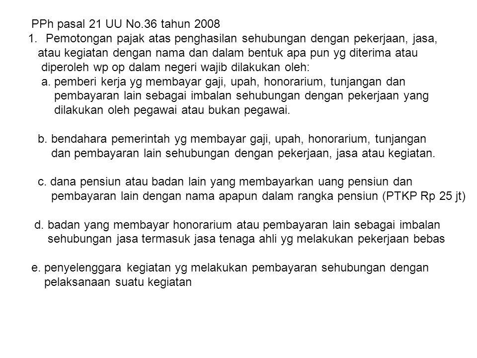 PPh pasal 21 UU No.36 tahun 2008 Pemotongan pajak atas penghasilan sehubungan dengan pekerjaan, jasa,