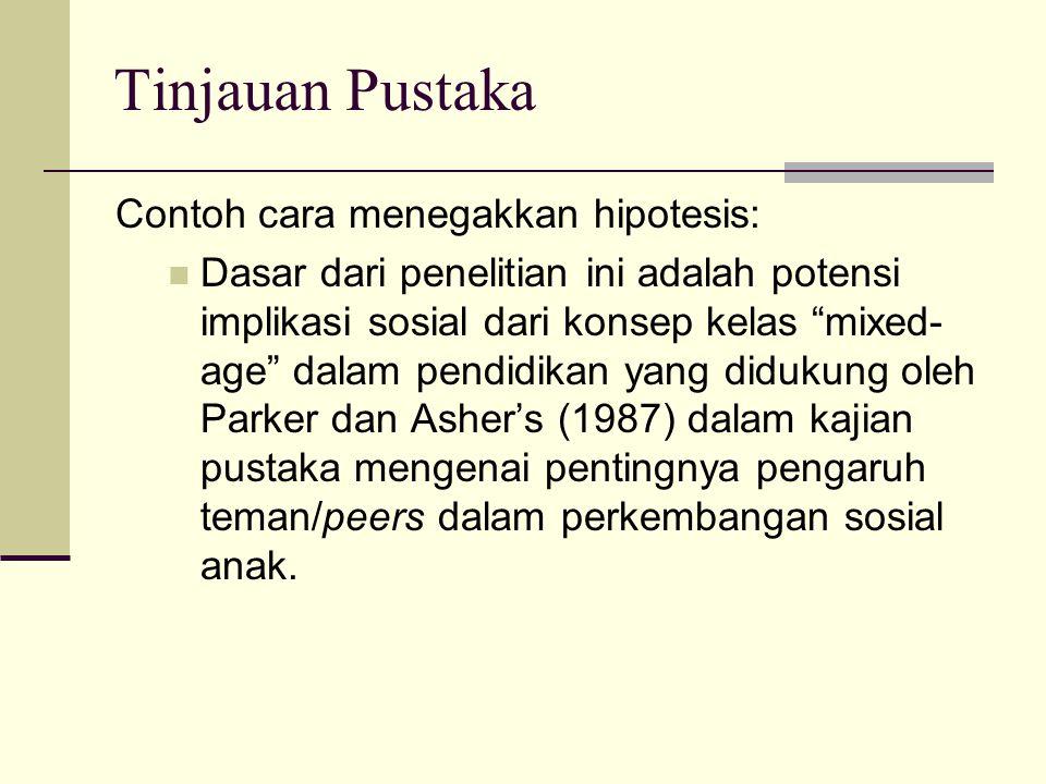 Tinjauan Pustaka Contoh cara menegakkan hipotesis: