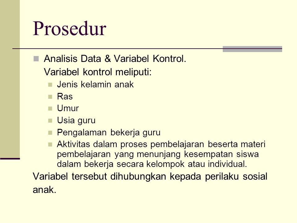Prosedur Analisis Data & Variabel Kontrol. Variabel kontrol meliputi: