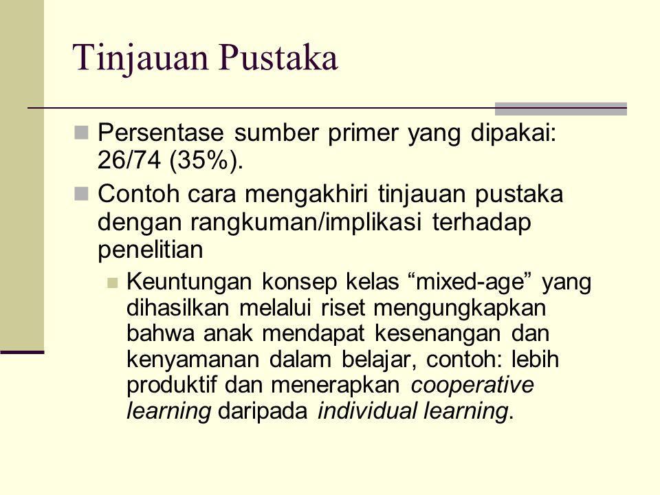 Tinjauan Pustaka Persentase sumber primer yang dipakai: 26/74 (35%).