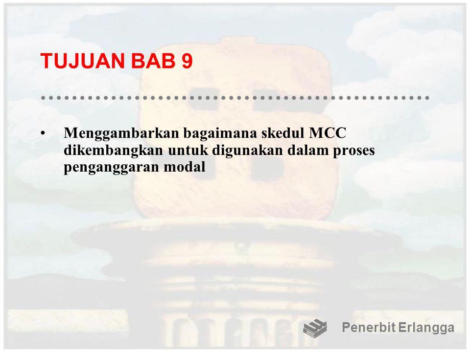 TUJUAN BAB 9 Menggambarkan bagaimana skedul MCC dikembangkan untuk digunakan dalam proses penganggaran modal.
