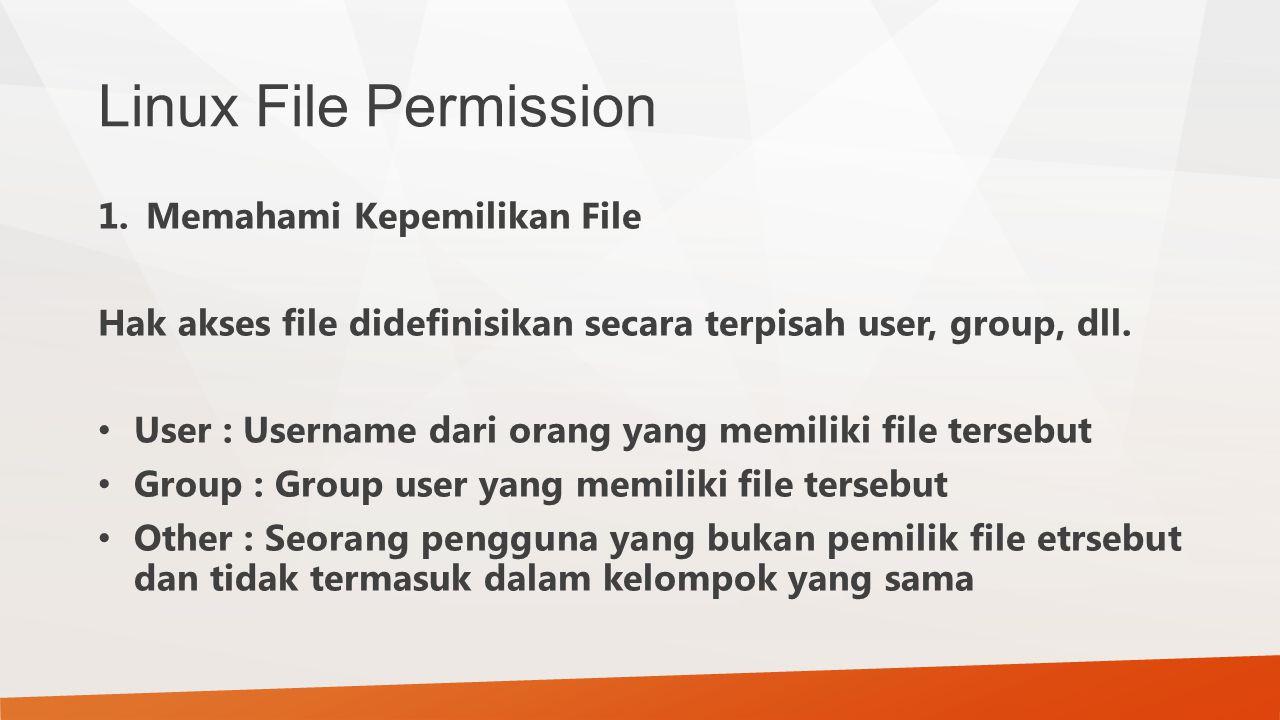Linux File Permission Memahami Kepemilikan File