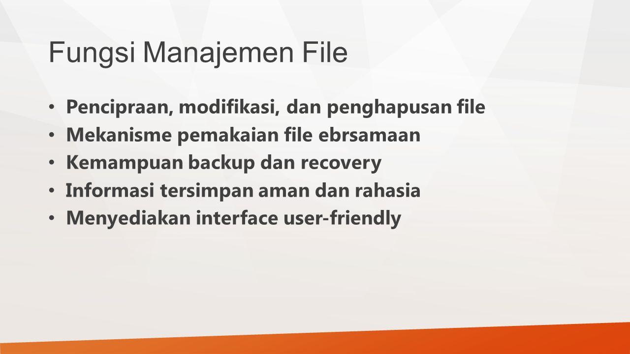 Fungsi Manajemen File Pencipraan, modifikasi, dan penghapusan file