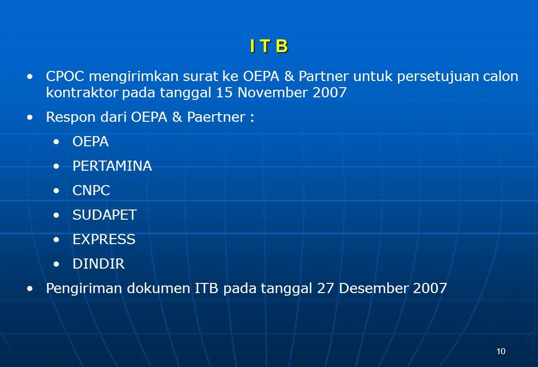 I T B CPOC mengirimkan surat ke OEPA & Partner untuk persetujuan calon kontraktor pada tanggal 15 November 2007.