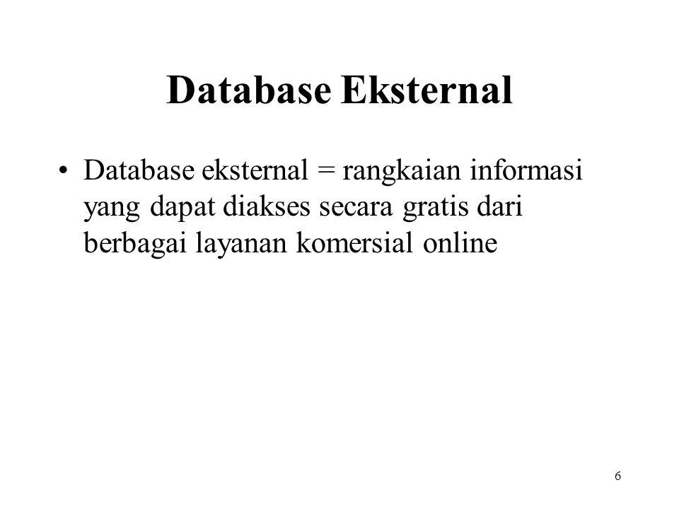 Database Eksternal Database eksternal = rangkaian informasi yang dapat diakses secara gratis dari berbagai layanan komersial online.