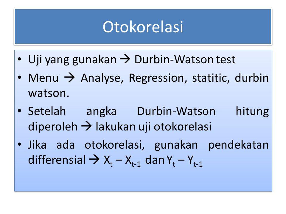 Otokorelasi Uji yang gunakan  Durbin-Watson test
