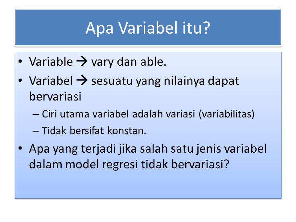 Apa Variabel itu Variable  vary dan able.